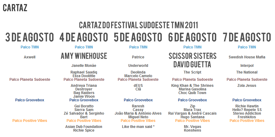 Cartaz do festival Sudoeste 2011