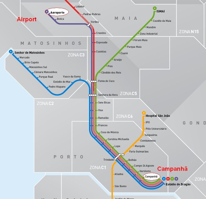 Metro map from oporto city